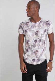Camiseta Masculina Estampada Folhagem Manga Curta Gola Careca Bege