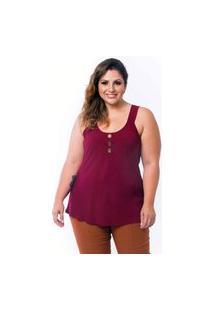 Blusinha Feminina Vinho Plus Size Verão