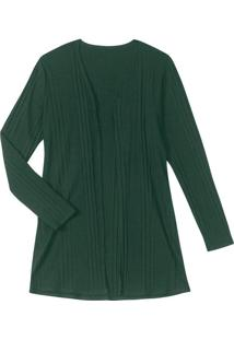 Cardigan Feminino Canelado Verde