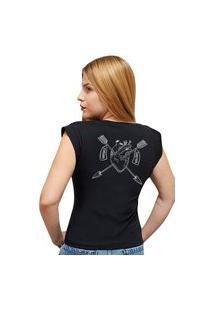 T-Shirt 100% Algodão Estampa Coração Juntos Para Sempre Stefanello Cf01 Preta