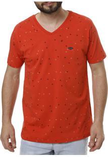 Camiseta Manga Curta No Stress Estampada Coral