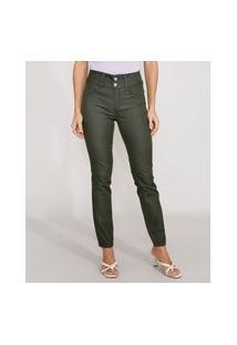 Calça Super Skinny Pull Up De Sarja Cintura Média Verde Escuro
