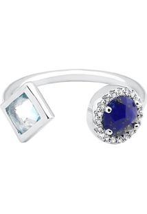 Anel Com Topázio & Lapis Lazuli- Prata & Azul Escurovivara