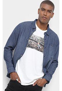 Camisa Jeans Redley Manga Longa Ziguezague Masculina - Masculino-Azul