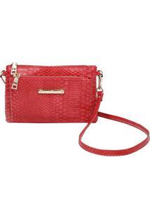 Bolsa Transversal Com Textura Snake - Vermelha - 13Xfellipe Krein