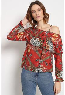 Blusa Assimã©Trica Com Vazado- Vermelha & Off White- Sommer