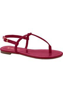 Sandália Rasteira Envernizada- Pinkvia Uno