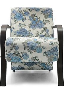 Poltrona Decorativa Branca E Azul Floral Gigante Mã³Veis - Branco - Dafiti