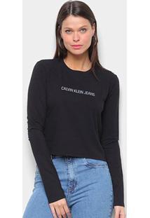 Blusa Cropped Calvin Klein Logo Manga Longa Feminina - Feminino-Preto
