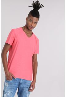 Camiseta Flamê Básica Coral
