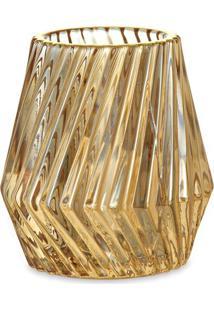 Porta Velas Texturizado- Amarelo & Dourado- 8Xã˜8,5Cmmart
