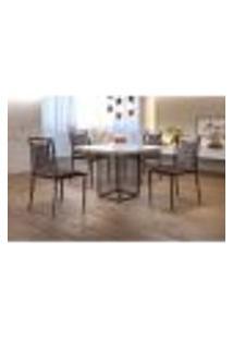 Conjunto De Mesa De Jantar Hera Com Tampo De Vidro Siena E 4 Cadeiras Grécia I Couríssimo Marrom Escuro