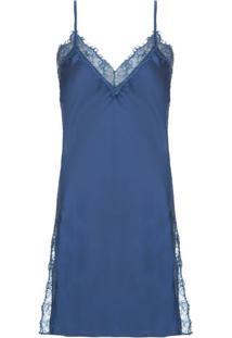 Camisola Curta Cetim Renda Angelina Loungerie - Azul