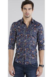 Camisa Masculina Slim Estampada Floral Manga Longa Azul Marinho