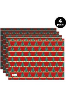 Jogo Americano Mdecore Natal Arvore De Natal 40X28 Cm Vermelho 4Pçs