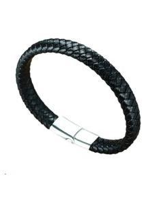 Pulseira Bracelete Em Couro Artestore Preto-Silver Fecho Aço