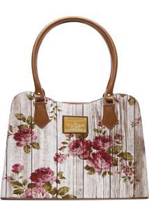 Bolsa Victor Valencia Ombro Quadrada Estampada Floral
