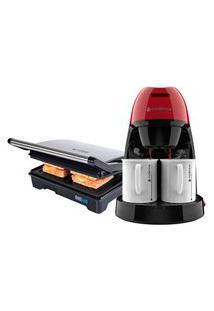 Kit Cafeteira Single Vermelha E Grill Inox Cadence 110V