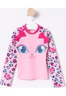 Camiseta Gatinha Com Laços- Rosa Claro & Rosa Escuropuket