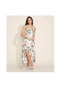Vestido Feminino Longo Estampado Floral Com Fenda Alça Larga Branco