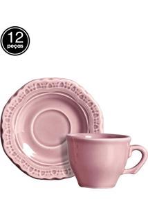 Conjunto 6 Xícaras De Café Romantic Rosa Scalla