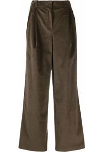 12 Storeez Calça Pantalona De Veludo Cotelê - Marrom