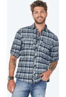 Camisa Xadrez Azul Escuro