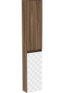 Armário Lateral Para Banheiro Em Mdf Mônaco 150X30Cm Terracota E Branco