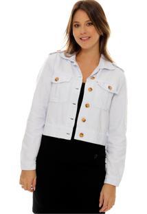 Jaqueta Cropped Branca Sob Em Sarja De Algodão Com Botões - Kanui
