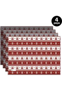 Jogo Americano Mdecore Natal Presentes 40X28 Cm Vermelho 4Pçs