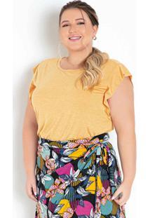 Blusa Amarela Com Cavas Alongadas Plus Size