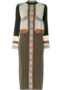 Mame Kurogouchi Vestido De Tricô Com Sobreposição - Preto