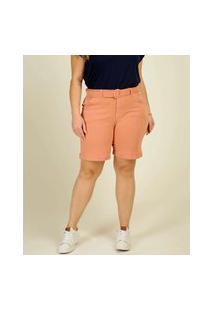Bermuda Plus Size Feminina Sarja Cinto