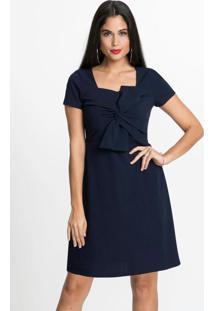 Vestido Com Laço Frontal Evasê Azul