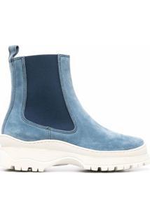 Nicole Saldaña Ankle Boot Bicolor - Azul