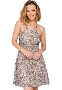 Vestido Regata Renda Handbook - Feminino-Bege
