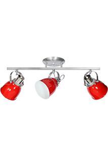 Spot Sobrepor Em Aluminio E - 27 547 3 Trilho Vermelho