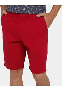 Bermuda Blue Bay Sarja Bolso Faca Color Masculina - Masculino-Vermelho