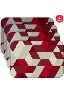 Jogo Americano Love Decor Wevans Red Geometric Kit Com 4 Pçs