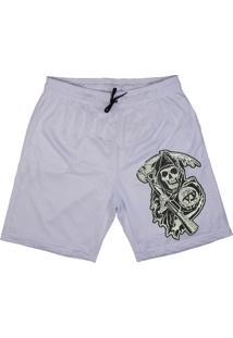 Bermuda Tecido Skull Clothing Sons Of Anarchy Branco