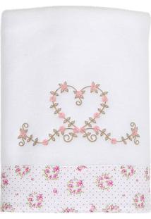 Cobertor Soft Tiffany- Branco & Rosa Claro- 75X100Cmbiramar