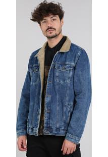 Jaqueta Jeans Masculina Com Rasgos E Veludo Cotelê Azul Médio
