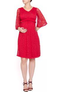 Vestido A Gestante Devore Flores Vermelho