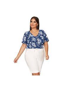 Blusa Almaria Plus Size Pianeta Estampada Azul Marinho