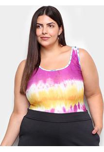 Body Naif Plus Size Tie Dye - Feminino-Rosa