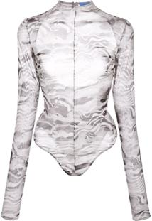 Mugler Marble Cut-Out Body Suit - Cinza