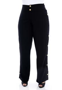 Calça Forma Rara Plus Size Pantalona Preta Com Botões Dourados-58
