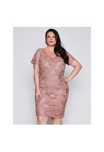 Vestido Almaria Plus Size Pianeta Curto Guipir Rosa