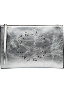 Stella Mccartney Logo Faux Leather Clutch Bag - Metálico