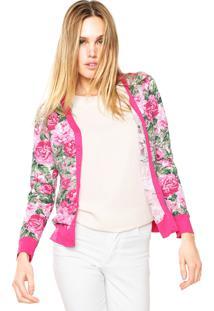 Cardigans Rovitex Floral Rosa/Branco